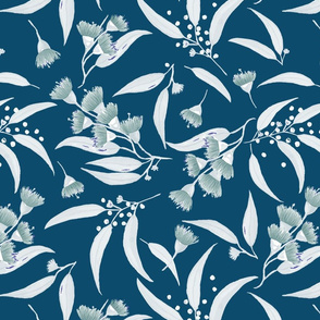 Gum Blossoms - Silver Leaves and Green Blossoms on a Teal background