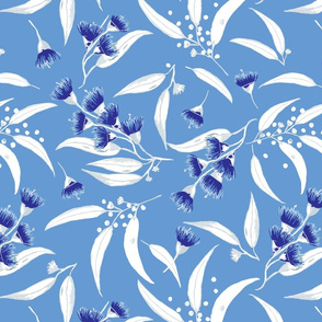 Gum Blossoms - Silver Leaves and Blue Blossoms on a  Sky Blue background