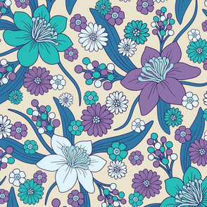 Purple, Teal & Blue 1970s Inspired Retro Floral Pattern