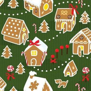 gingerbread village on green knit