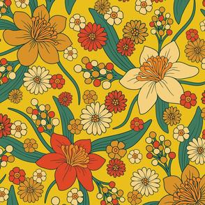 Retro Yellow, Orange & Teal Floral Pattern