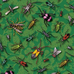 Bugs & Insects on Green Floral Background