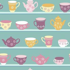 Tea Cups On Shelves