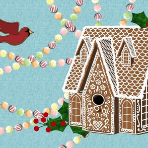 Gingerbread Birdhouse Placemat -Large