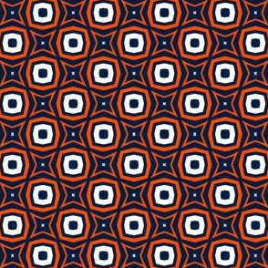 Stars and Squares in Navy Blue and Orange