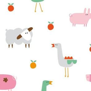 Farm animals pigs geese sheep