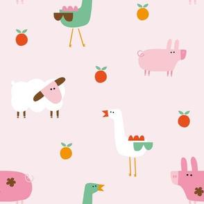 Farm (pink) geese pig sheep