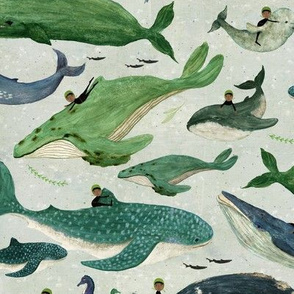 whale rider {green large with another rider}