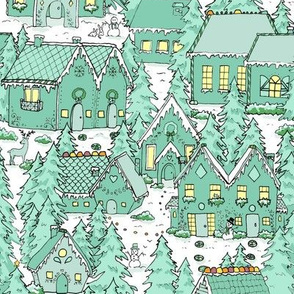 Mint Winter Gingerbread Houses