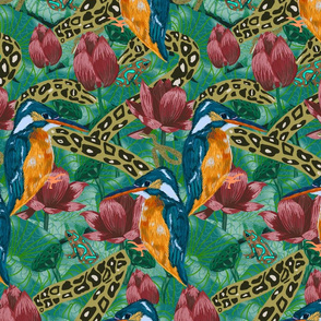 King and His Kingdom- Kingfishers, Snakes and Frogs in a Lotus Pond