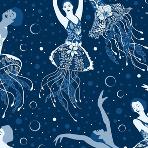 Jellyrinas- Floral Jellyfish Ballerinas- Blue, Ice, Slate, Midnight- Large Scale