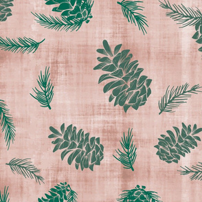 Pinecones and Pine Needles Winter Wonder- Large Scale
