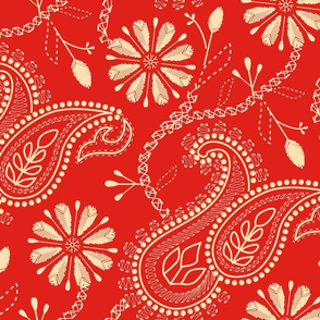 Opere Plumarii Chikankari- Paisley Florals in Red and  Flax- Large scale
