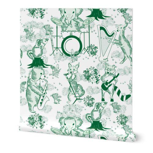Jungle Jam- Whimsical Toile- Emerald Green Woodland Band- Large Scale