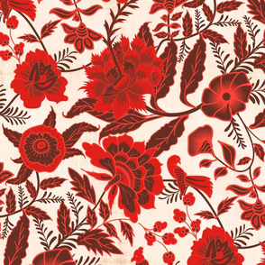 Vintage Botanical Chintz Filigree- Red Traditional Florals Palampore- Large Scale