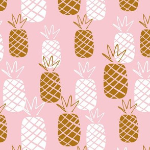 Pineapple pink and brown tropical print