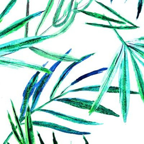 Bright jungle • watercolor palm leaves in green and blue