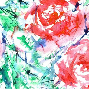 Scarlet red roses • large scale • watercolor flowers