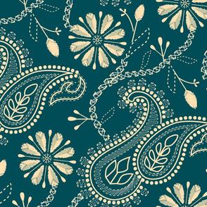 Opere Plumarii Chikankari- Paisley Florals in dark teal