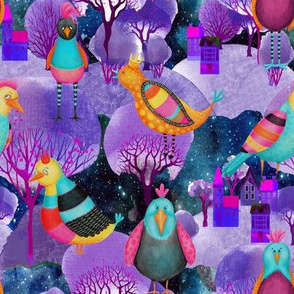 BIRDS CHICKEN PURPLE FLWRHT