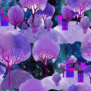 MOUNTAINS VILLAGE TREES PURPLE FLWRHT