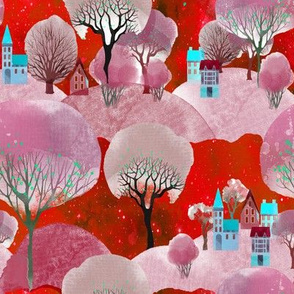 MOUNTAINS VILLAGE TREES RED PINK FLWRHT