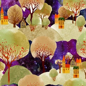 MOUNTAINS VILLAGE TREES  YELLOW MOSS PURPLE FLWRHT
