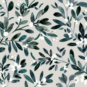 Sprigs & Flowers - gray
