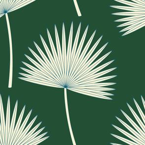 Boho sunshine palm leaves on forest green