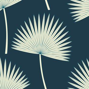 Boho sunshine palm leaves on midnight