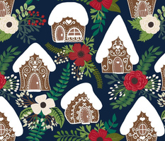 Gingerbread Houses and Christmas Florals - Navy Background
