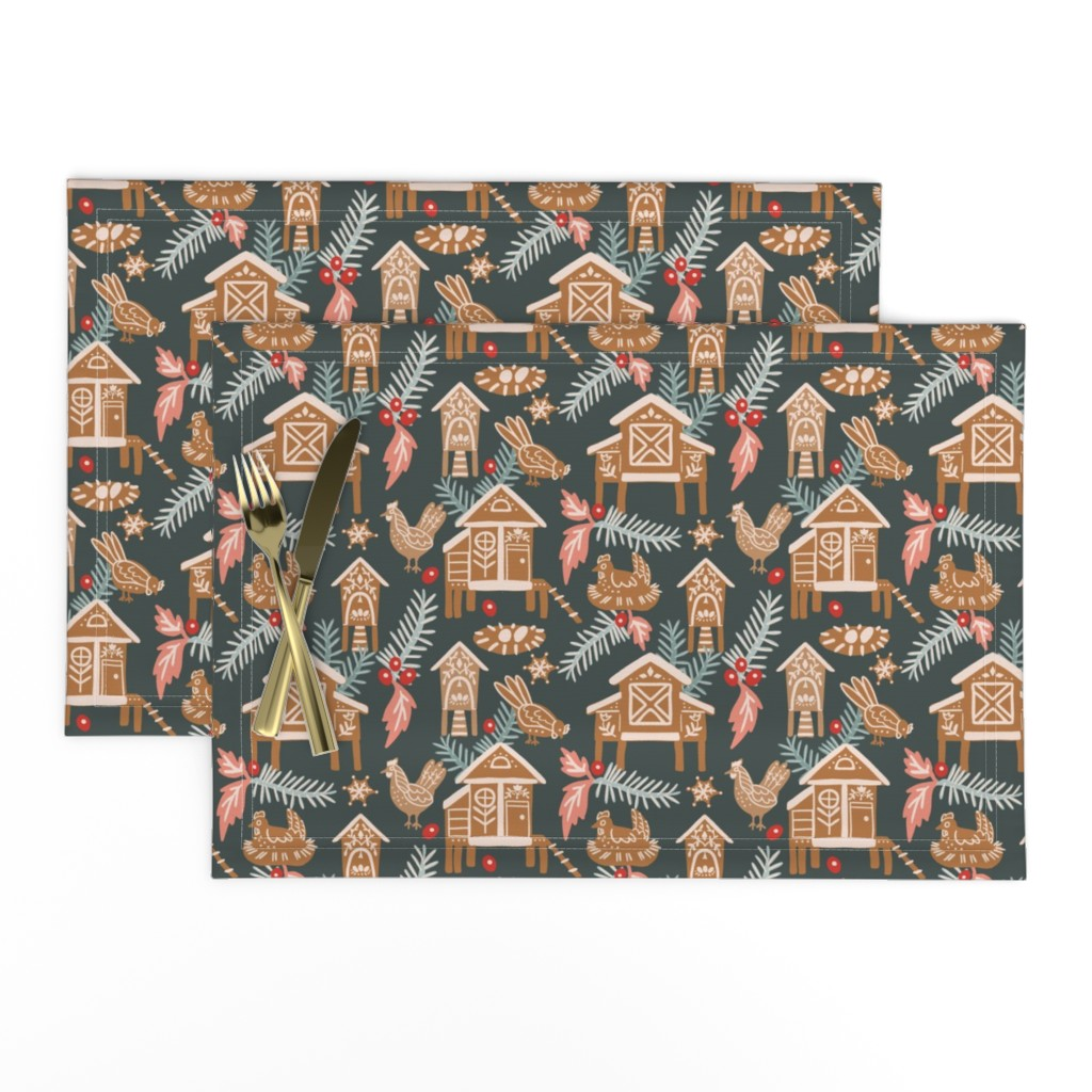 Lamona Cloth Placemats featuring Gingerbread Chicken Coops by katie_hayes