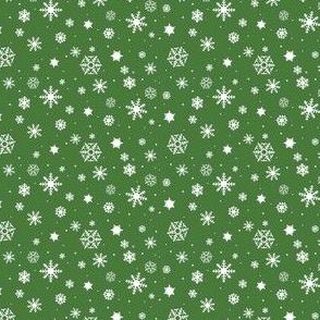 snowflake repeat on dark green