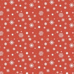 snowflake repeat on red