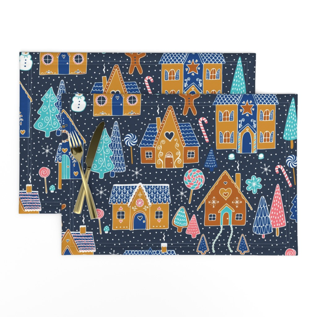 Lamona Cloth Placemats featuring Gingerbread Houses in the snow - Navy by cecca
