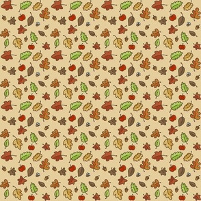 small happy fall leaf repeat cream