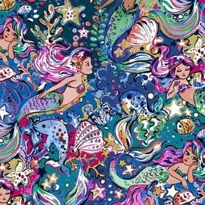 Watercolor Mermaids blues
