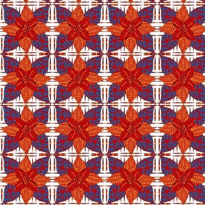 Norma  Abstract Geometric Floral on White