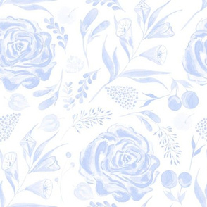 Watercolor Floral  in Blue