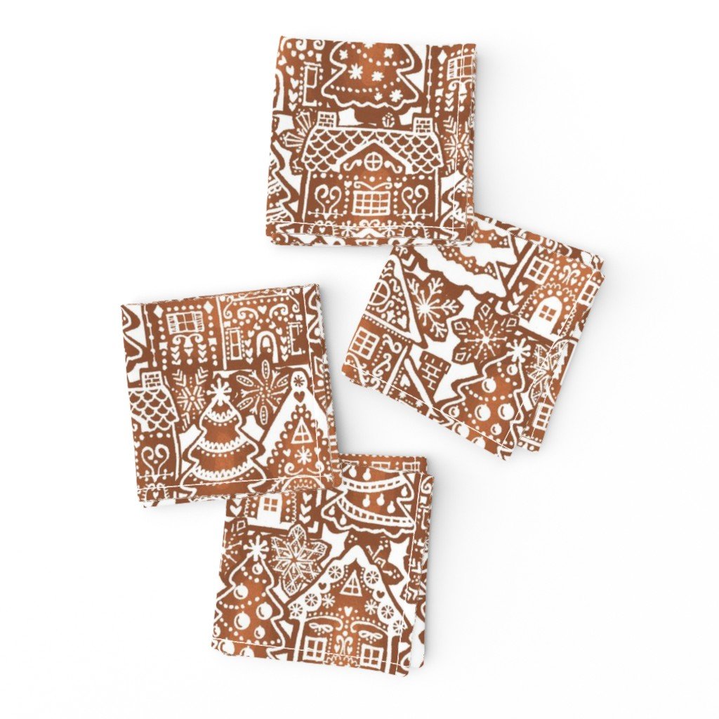 Frizzle Cocktail Napkins featuring Holiday Gingerbread Neighborhood by m_harrison_design