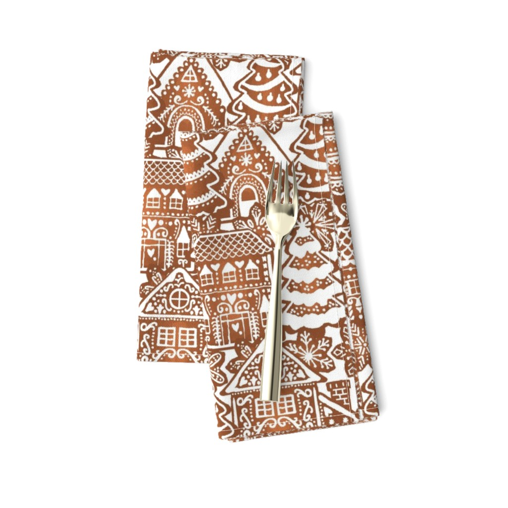 Amarela Dinner Napkins featuring Holiday Gingerbread Neighborhood by m_harrison_design