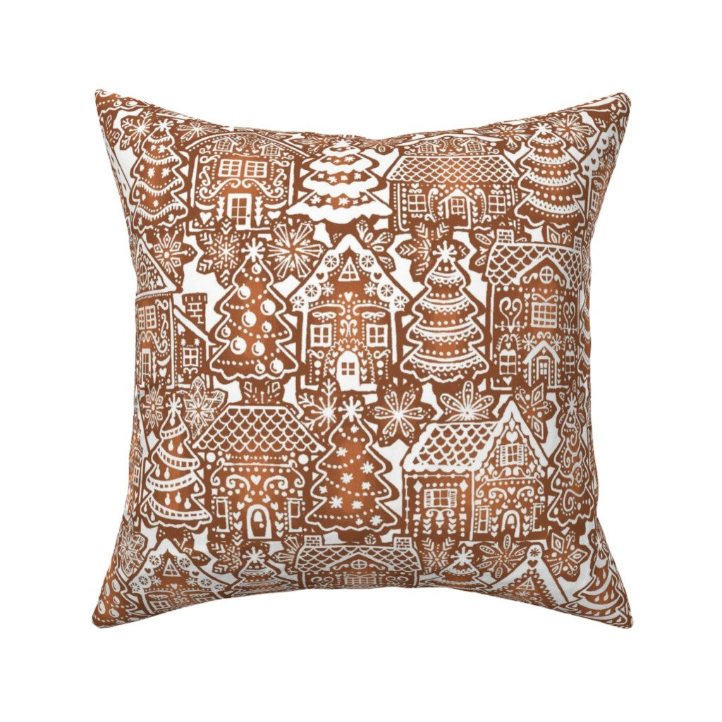 Catalan Throw Pillow featuring Holiday Gingerbread Neighborhood by m_harrison_design
