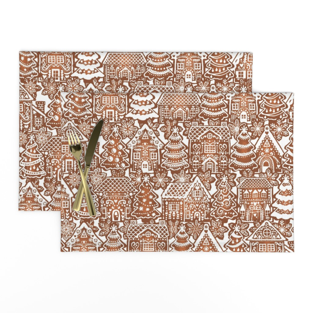 Lamona Cloth Placemats featuring Holiday Gingerbread Neighborhood by m_harrison_design