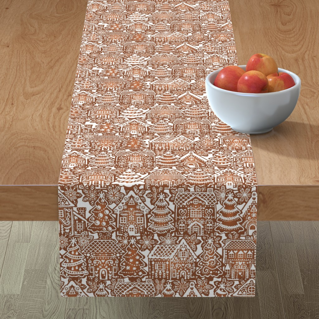 Minorca Table Runner featuring Holiday Gingerbread Neighborhood by m_harrison_design