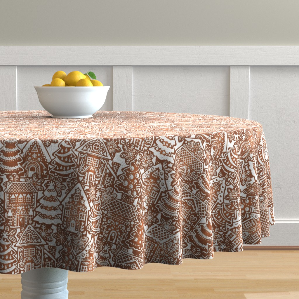 Malay Round Tablecloth featuring Holiday Gingerbread Neighborhood by m_harrison_design