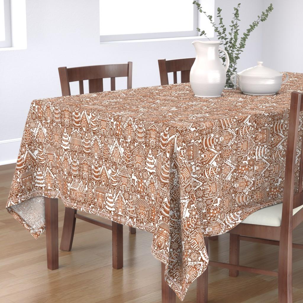 Bantam Rectangular Tablecloth featuring Holiday Gingerbread Neighborhood by m_harrison_design