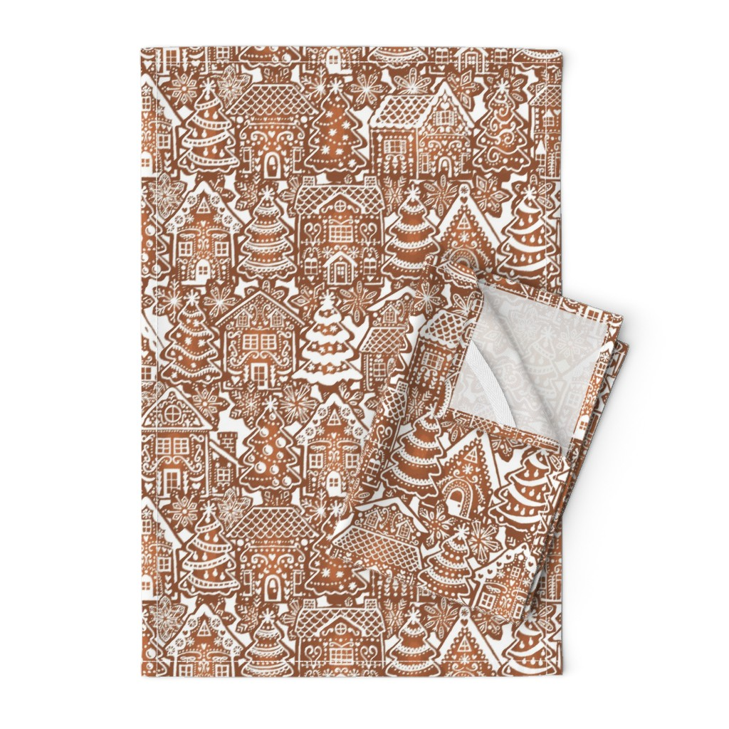 Orpington Tea Towels featuring Holiday Gingerbread Neighborhood by m_harrison_design