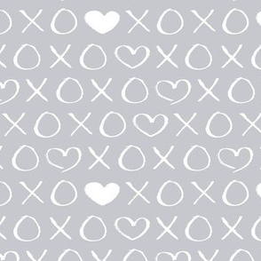 xoxo love sweet hearts and kisses print for lovers wedding and valentine in gender neutral soft cool gray