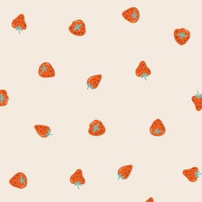 Strawberry on the cream background