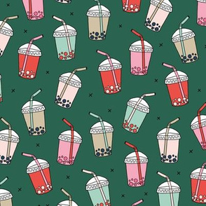 Cool celebration bubble tea to go cups with Japanese drinks christmas iced coffee seasonal green red mint